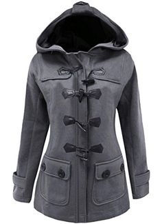 Womens Plus Size Long Sleeve Double Breasted Pea Coat Hoodie Winter Jacket ** See this great product.