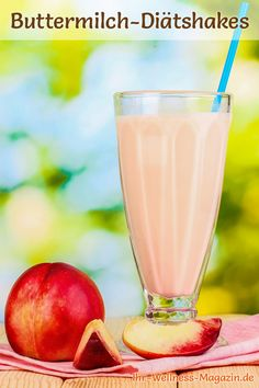 Delicious buttermilk diet shakes: Try our buttermilk shake with nectarines . Leckere Buttermilch-D Healthy Smoothies, Smoothie Recipes, Diet Recipes, Snack Recipes, Healthy Recipes, Snacks, Low Carb Shakes, Protein Shakes, Shake Diet