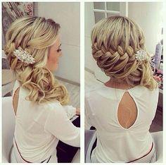 Wedding hair, bridesmaid hair, hair do Wedding Hairstyles For Women, Up Hairstyles, Pretty Hairstyles, Hairstyle Ideas, Hair Ideas, Hairstyle Braid, Braided Updo, Hairstyle Wedding, Bridesmaid Side Hairstyles