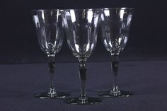 "3 Crystal Paneled Water Goblets Elegant Vintage Stemware 8 Ounce 7 1/4"" Tall"