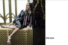 An image from Prada's spring 2016 campaign photographed by Steven Meisel