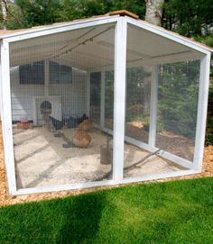 The chicken run is covered with a cedar shingled roof that helps keep predators out and protect the chickens from the Cape Cod elements. Pro tip: Predator proof your coop using hardware cloth. Avoid chicken wire, too: It's meant to keep chickens in, but will not hold up to predator attacks.