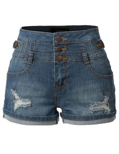 LE3NO Womens Stretchy High Waisted Denim Jean Shorts