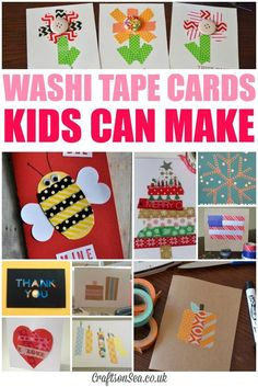 Inspiration for loads of washi tape cards kids can make including Christmas cards, birthday cards, ideas for Halloween, kids made Thank You cards and more.