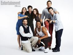 (Standing, left to right) BREE TURNER, DAVID GIUNTOLI, BITSIE TULLOCH, SASHA ROIZ, REGGIE LEE, (kneeling, left to right) SILAS WEIR MITCHELL, RUSSELL HORNSBY, Grimm
