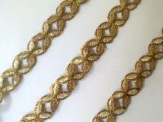 Metallic golden Cut work lace Sari Border Trim by VibgyorColors