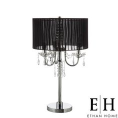 @Overstock   With An Elegant Black Faux Silk Shade, This Noble Crystal  Table Lamp