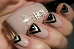 Black and gold and nude nail