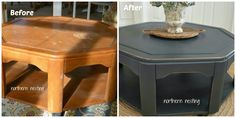 Northern Nesting: A Coffee Table's ~ Before & After Masion Blanche paint in Wrought Iron & clear wax.