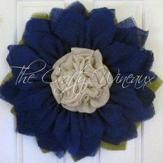 Royal Blue Burlap Sunflower Wreath - The Crafty Wineaux