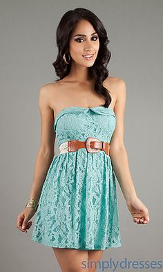 Mineee. Short Strapless Lace Dress at SimplyDresses.com