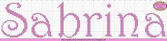 Gráficos de Nomes em Ponto Cruz: Nome Sabrina em Ponto Cruz