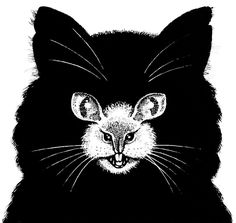Cat and Mouse. This optical illusion takes the cat and mouse game to a whole new level! It's a cat face. No, wait, it's a mouse. Maybe both?