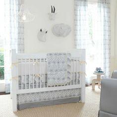 Stella Ikat Crib Bedding   Gray and White Ikat Pattern Gender Neutral Crib Set   Carousel Designs 500x500 image