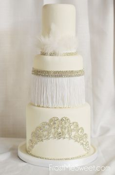 flapper art deco Hollywood Rhinestone bling wedding cake by Frost Me Sweet