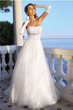 Elegant Princess Sweetheart Empire Waist Appliques Floor-Length Satin Homecoming Outdoor dress I like the dress, not the gloves. Wedding Dress 2013, Elegant Wedding Dress, White Wedding Dresses, Prom Dresses, Dresses 2014, Casual Wedding, Summer Wedding, Bridal Gowns, Wedding Gowns