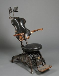 Take a Seat, a really old 'dental' chair. Antique Chairs, Antique Furniture, Vintage Antiques, Vintage Items, Vintage Tools, Dental Art, Dental Design, Dental Group, Cabin In The Woods