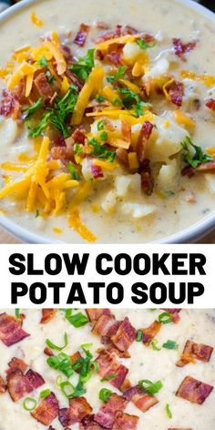 Slow Cooker Baked Potato Soup is creamy and comforting, budget-friendly and also very easy to make! Perfect for a weeknight meal. potato al horno asadas fritas recetas diet diet plan diet recipes recipes Crock Pot Slow Cooker, Slow Cooker Recipes, Crockpot Recipes, Soup Recipes, Cooking Recipes, Dinner Recipes, Dessert Recipes, Slow Cooker Potato Soup, Clean Eating Snacks