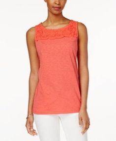 Charter Club Woman's Sleeveless Crochet-Yoke Top,Modern Coral, Size:XL #CharterClub #TankTop #Casual #fashion #women #forsale #xl #forsale #shirt