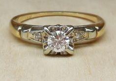Vintage Antique .27ct Diamond 14k White Yellow Gold Engagement Ring 1940's Art Deco
