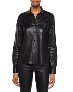 Shrunken Leather Button-Up Top, Black