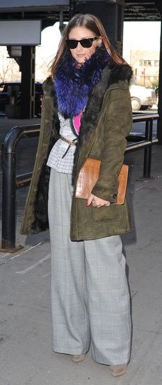 Olivia Palermo wearing Ray-Ban Wayfarer Sunglasses in Black, Christian Louboutin Alti Booty Ankle Boots in Sand, Peter Som Spring 2011 Pink Shirt and Peter Som Fall 2010 Wide-Leg Pants.