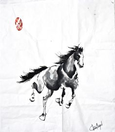 Escape, December 2016 Beijing Chinese ink on rice paper 22 cm x 16 cm European Paintings, Cecile, Fashion Painting, Rice Paper, Beijing, Moose Art, December, Chinese, Horses