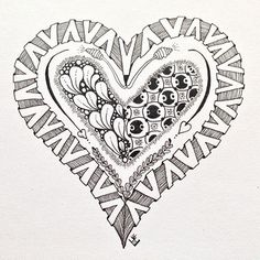 Zentangle, Heart, Black and white Zentangle Drawings, Doodles Zentangles, Zentangle Patterns, Art Drawings Sketches, Heart Doodle, Zen Doodle, Doodle Art, Free Coloring Pages, Printable Coloring Pages