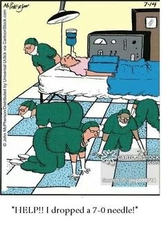 It will never be seen again!!! Lol.., why is it that the floor in the OR is so hard to find those cardiovascular needles