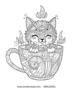 Adult Antistress Coloring Page With Cat In Zentangle Style Doodle Animal Vector Illustration For T Shirt Print Tattoo Logo