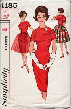 1960s Wiggle Dress & Overskirt Vintage Sewing by BessieAndMaive, $12.00