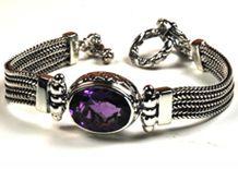 #Gemstone Bracelets #Amethyst Bracelets # Silver Bracelets