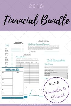 The Brewing Wisdom 2018 Financial Binder. Free Printable's and Tutorial to get your finances in order for this year!
