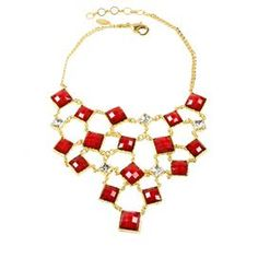 """Gold-finished bib necklace with Austrian crystals and square faux stones.  Product: NecklaceConstruction Material: Brass, resin stones and Austrian crystalsColor: RubyFeatures: AdjustableDimensions: 14""""-16"""" Diameter (chain)"""