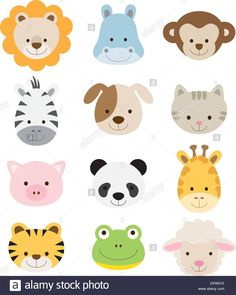 Vector illustration of animal faces including lion hippo monkey zebra dog cat pig panda giraffe tige Stock Vector Jungle Animals, Felt Animals, Cute Baby Animals, Woodland Animals, Cute Animal Illustration, Animal Illustrations, Vector Illustrations, Animal Faces, Animals Images