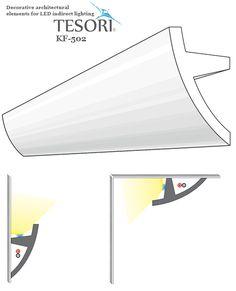 Poliuretán rejtett világítás díszléc (KF-502) ütésálló