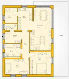 grundriss einfamilienhaus mit garage erdgeschoss haus evolution 154 v6 bien zenker fertighaus. Black Bedroom Furniture Sets. Home Design Ideas