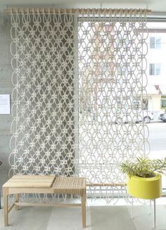 30 Lovely Macrame DIY Crafts - 30 Lovely Macrame DIY Crafts You are in the right place about diy decor modern Here we offer you th - Macrame Wall Hanger, Macrame Curtain, Large Macrame Wall Hanging, Macrame Wall Hangings, Macrame Projects, Diy Projects, Macrame Supplies, Diy Room Divider, Room Dividers