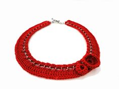 Red Chain Crocheted Collar Bib Necklace by ChichiKnots on Etsy