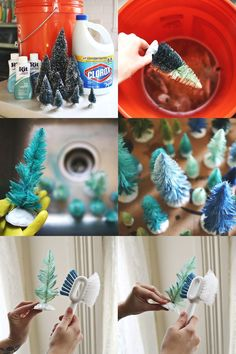 Bottle brush tree abeautifulmess.com Supplies: Bottle brush trees in various sizes, bleach, bucket, rubber gloves, and fabric dye in several shades.