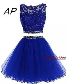 Charming Tulle Short Homecoming Dress, Royal Blue Two Piece Prom Dress, Appliques Prom Gowns - Nicely homecoming dress Homecoming Dresses Under 100, Two Piece Homecoming Dress, Cute Prom Dresses, Sweet 16 Dresses, Sexy Dresses, Evening Dresses, Short Dresses, Party Dresses, Royal Blue Homecoming Dresses
