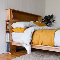 Al and Imo Custom Timber Furniture Timber Bed Frames, Timber Beds, Diy Storage Headboard, Bookshelf Headboard, Bookshelves, Simple Bed Designs, Timber Furniture, Woodworking Furniture, Minimalist Bed