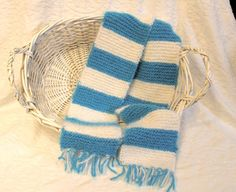 Angel Hair Hand Knit Scarf in Turquoise and White by StitchinGalTX