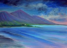 'Evening Colours, Clew Bay, Connemara' ... Large atmospheric original oil painting, on canvas, capturing the hazy colours of an sultery Summer's evening in the West of Ireland. The scene is of the beautiful Clew Bay on the Wild Atlantic Way, with the dramatic silhouette of Croagh Patrick Mountain, at sunset. Size: 50 x 70 x 2 cm