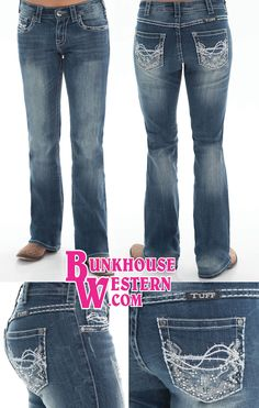 @cowgirltuffco Spring Bling Jeans, Clear Crystals, Medium Wash, Light Fading, Rodeo, Cowgirl, Tuff, Rock N Roll, Country Girl, Barrel Racing, $94.99, http://bunkhousewestern.com/sprblg