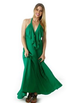 Maxi Dress Belle Backless in Emerald Green $119.99