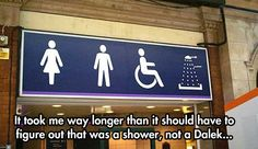 It took me way longer than it should have to figure out that was a shower, not a Dalek... #DoctorWho