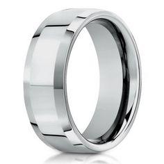 Designer 950 Platinum Wedding Band for Men with Beveled Edges, 6mm