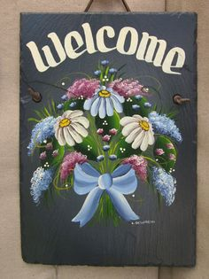 Handpainted Personalized Daisy Floral Slate by Slateexpectations, $37.95