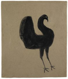 Bill Traylor (1854-1949). Black Turkey. Poster Paint and Pencil on Cardboard. Circa 1939-1942.